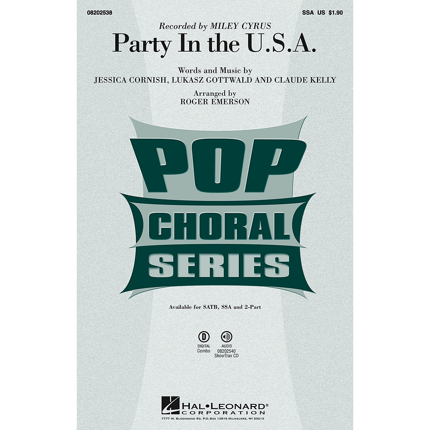 Hal Leonard Party in the U.S.A. SSA by Miley Cyrus arranged by Roger Emerson thumbnail