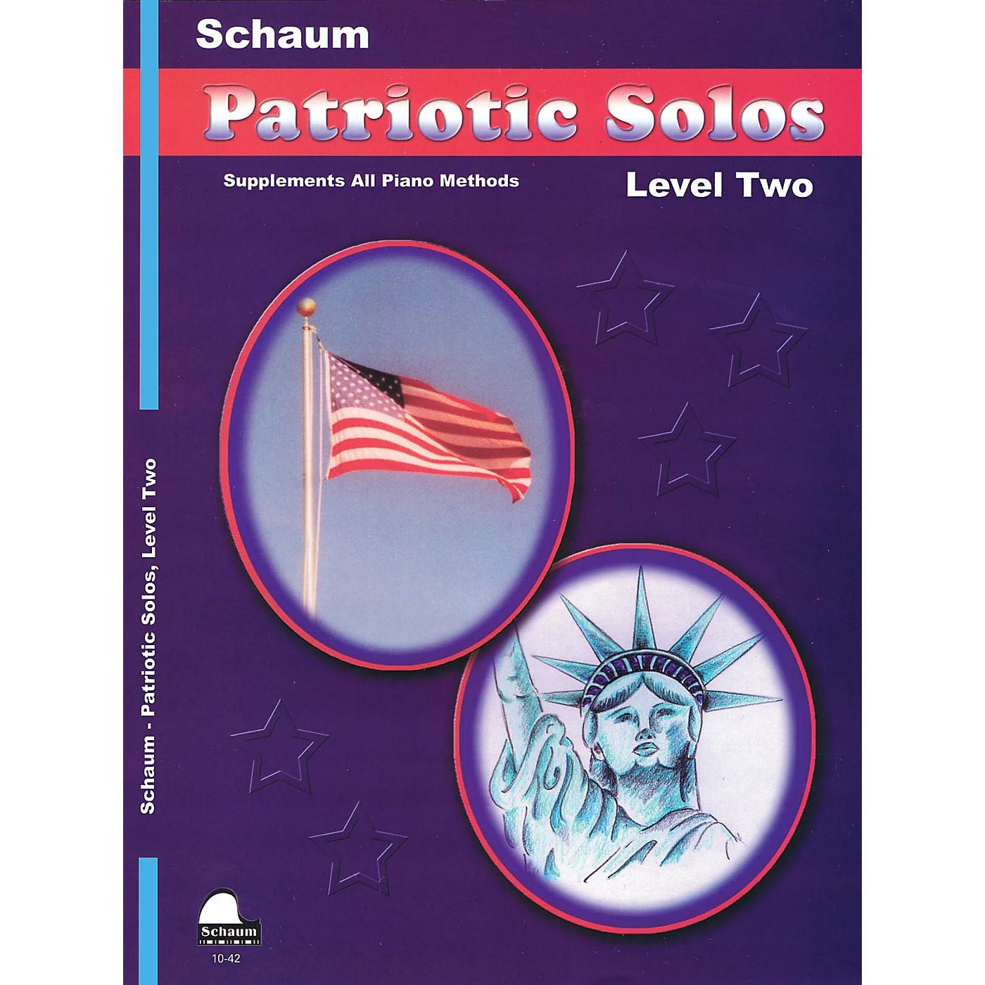 SCHAUM Patriotic Solos (Level 2 Upper Elem) Educational Piano Book thumbnail