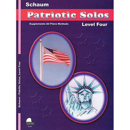 SCHAUM Patriotic Solos (Level 4 Inter Level) Educational Piano Book thumbnail