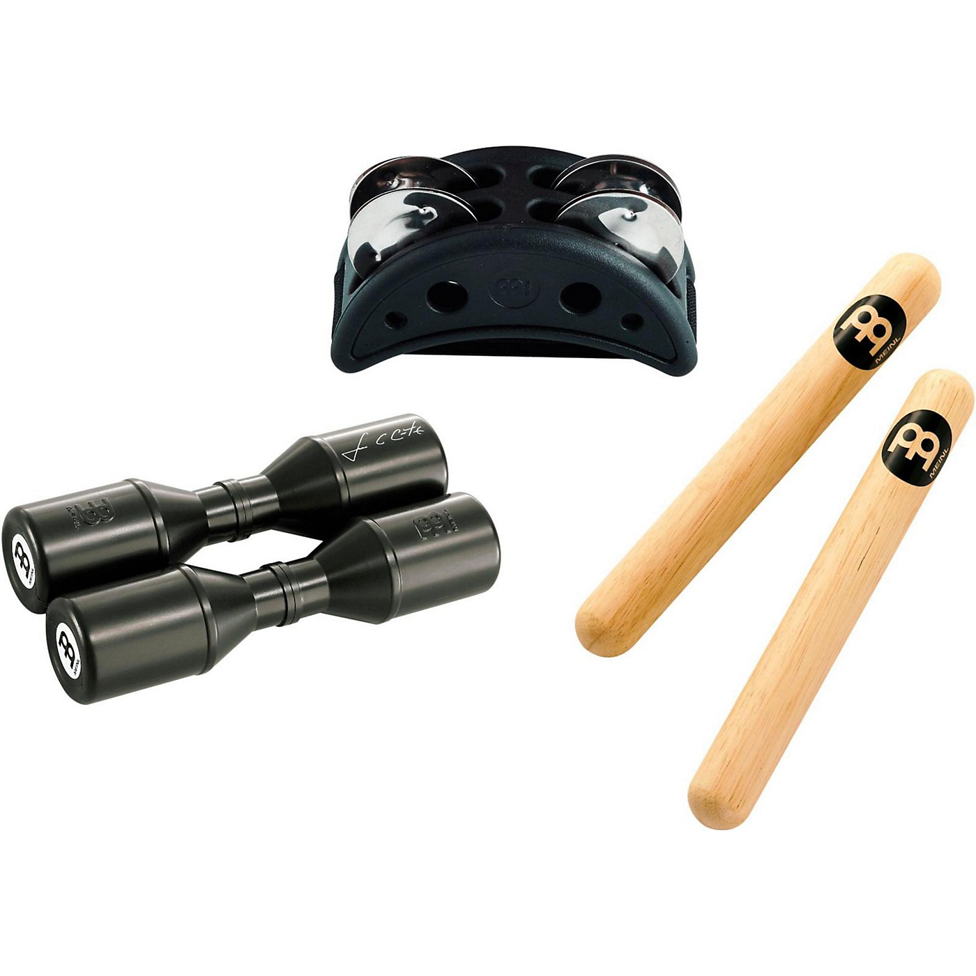 Meinl Percussion Pack w/ Compact Foot Jingle Tambourine, Classic Hardwood Claves and Artist Series Shaker thumbnail