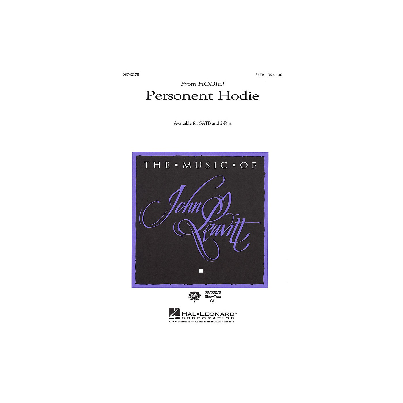 Hal Leonard Personent Hodie (SATB) SATB arranged by John Leavitt thumbnail