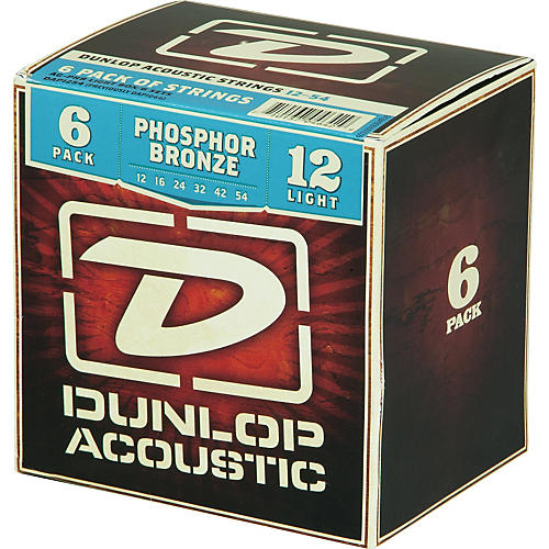Dunlop Phosphor Bronze Acoustic Guitar Strings Light 6-Pack thumbnail