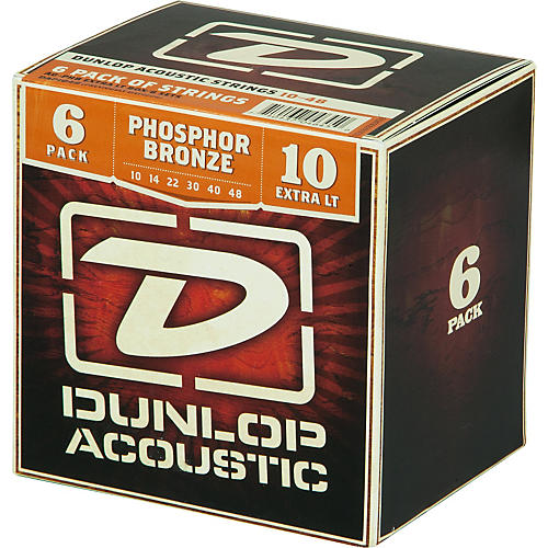 Dunlop Phosphor Bronze Acoustic Guitar Strings Xtra Light 6-Pack-thumbnail