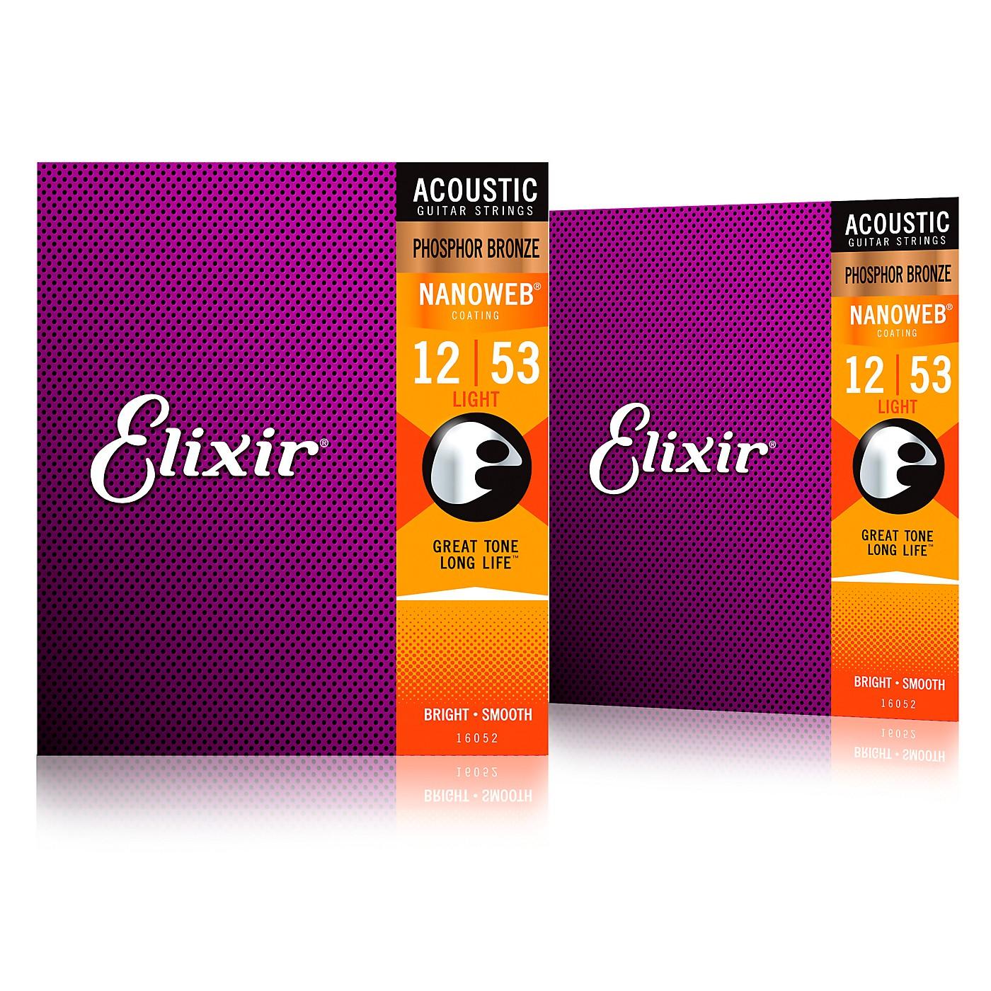 Elixir Phosphor Bronze Acoustic Guitar Strings with NANOWEB Coating, Light (.012-.053) 2-Pack thumbnail
