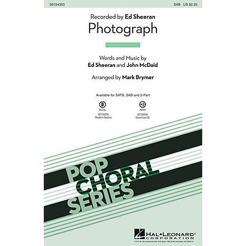 Hal Leonard Photograph SAB by Ed Sheeran arranged by Mark Brymer thumbnail