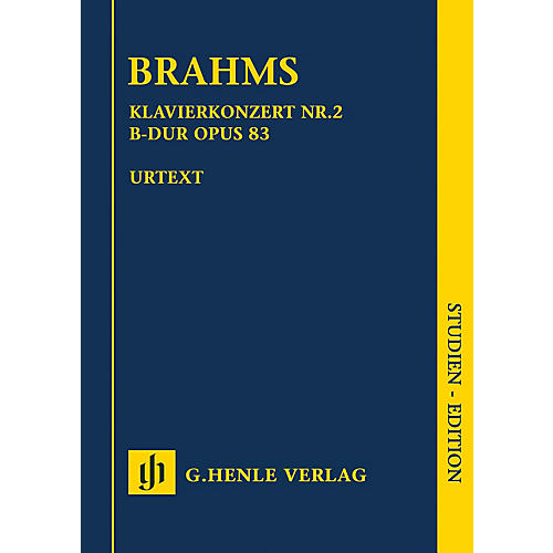 G. Henle Verlag Piano Concerto No. 2 in B-flat Major Op. 83 Henle Study Scores Composed by Brahms Edited by Johannes Behr thumbnail