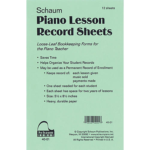 SCHAUM Piano Lesson Record Sheets Educational Piano Series Softcover thumbnail
