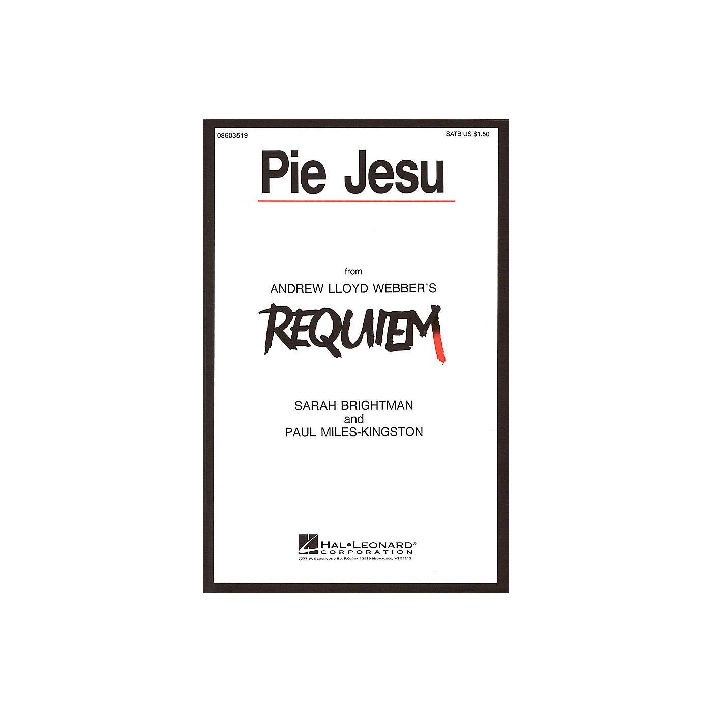 Hal Leonard Pie Jesu (from Requiem) SATB by Sarah Brightman composed by Andrew Lloyd Webber thumbnail