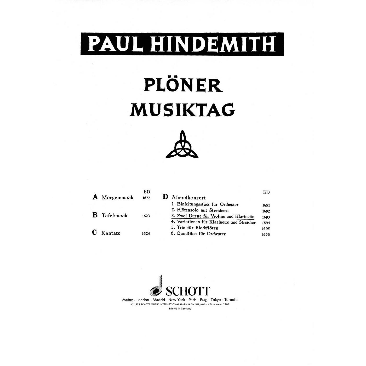 Schott Plöner Musiktag - The Evening Concert (Performance Score) Schott Series Composed by Paul Hindemith thumbnail