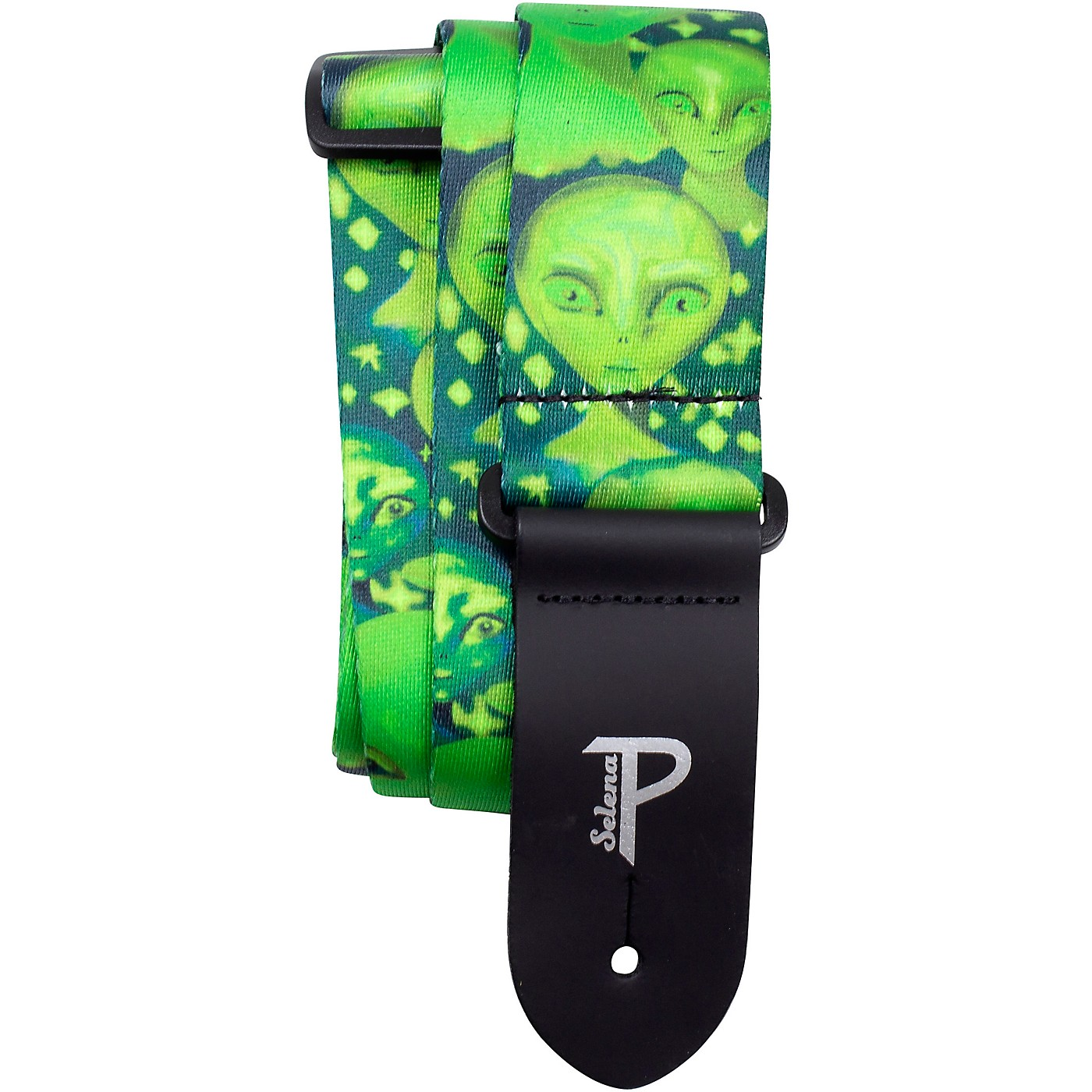 Perri's Polyester Guitar Strap - Green Aliens, 2in Wide thumbnail