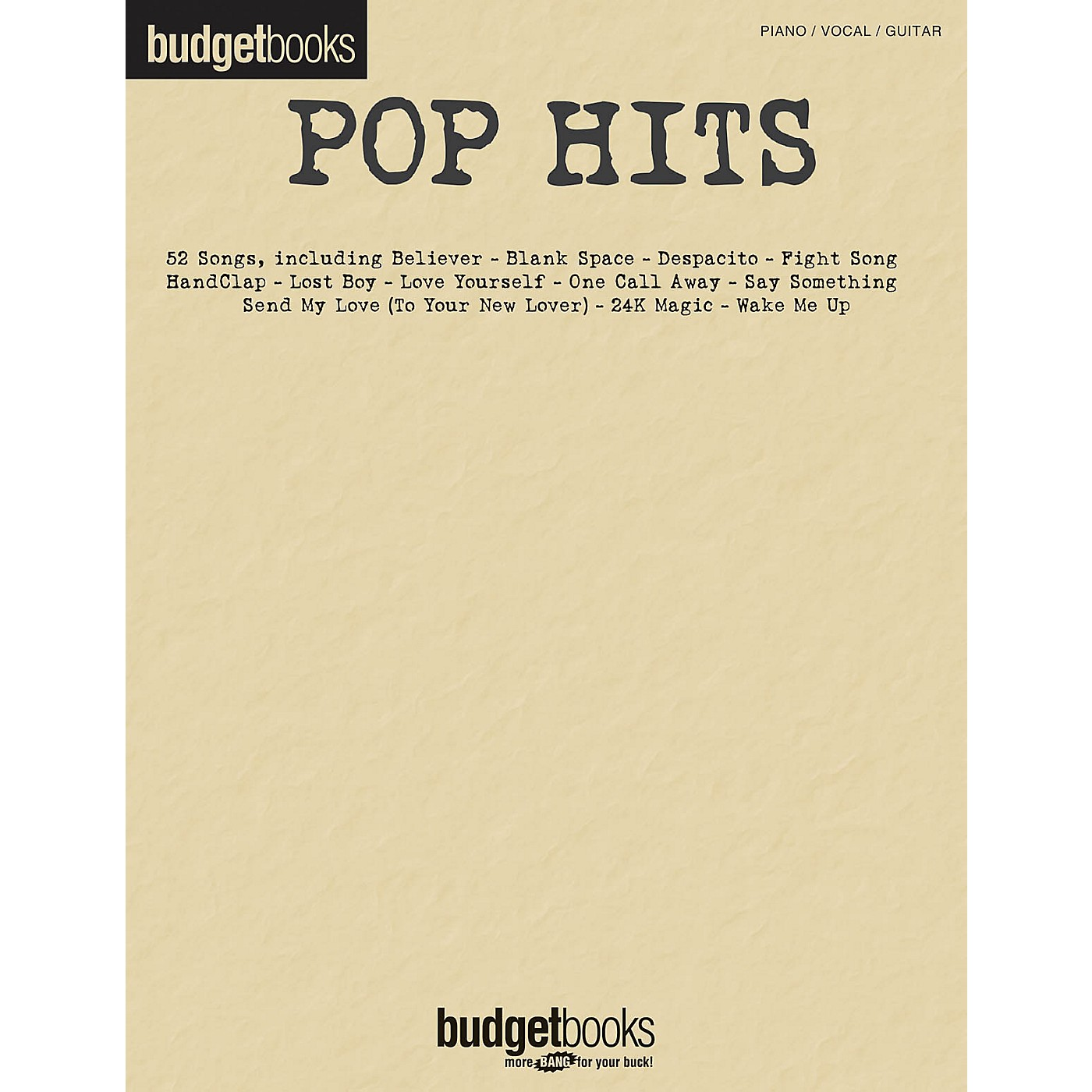 Hal Leonard Pop Hits (Budget Books) Piano/Vocal/Guitar Songbook thumbnail