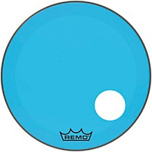 "Remo Powerstroke P3 Colortone Blue Resonant Bass Drum Head with 5"" Offset Hole"