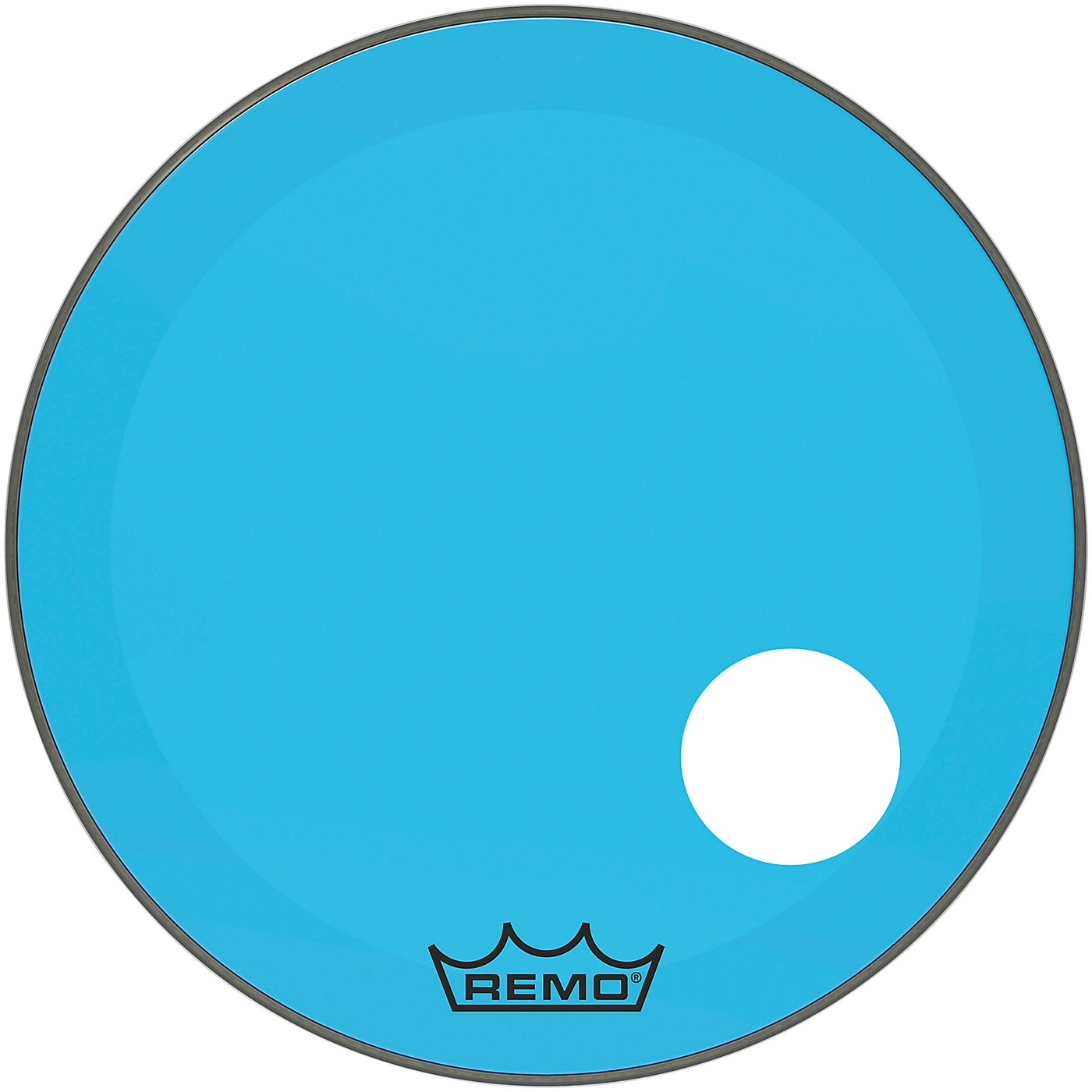 Remo Powerstroke P3 Colortone Blue Resonant Bass Drum Head with 5 in. Offset Hole thumbnail
