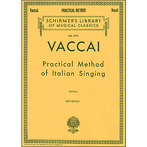 G. Schirmer Practical Method Of Italian Singing for Alto Or Barintone Voice By Vaccai thumbnail
