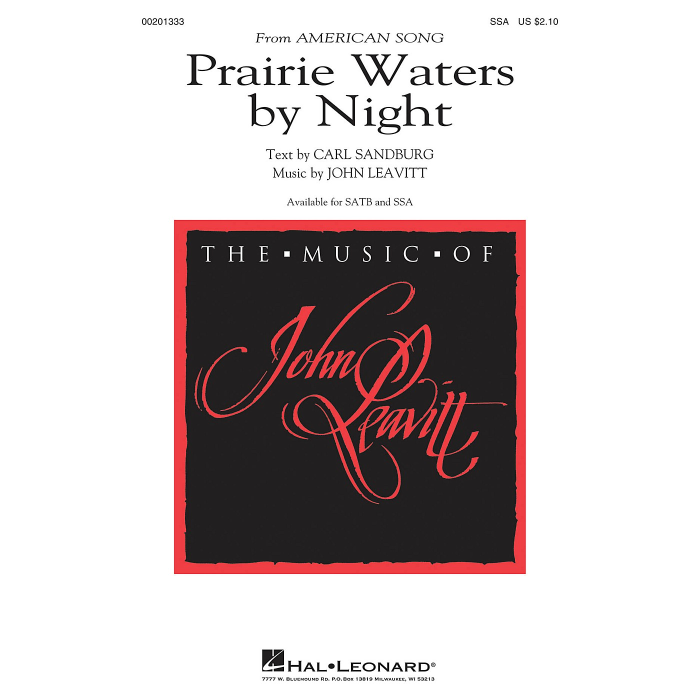 Hal Leonard Prairie Waters by Night (from American Song) SSA composed by John Leavitt thumbnail