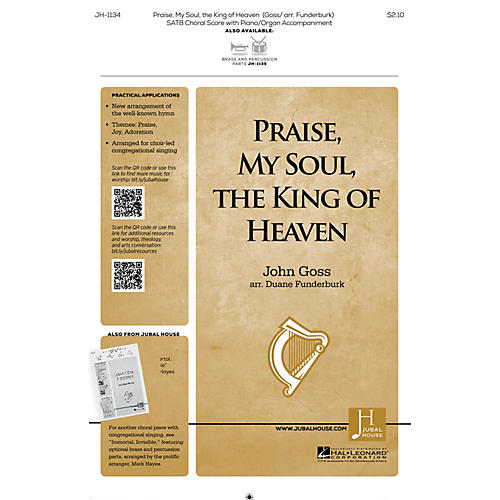 Jubal House Publications Praise, My Soul, the King of Heaven BRASS/PERCUSSION PARTS Arranged by John Goss thumbnail