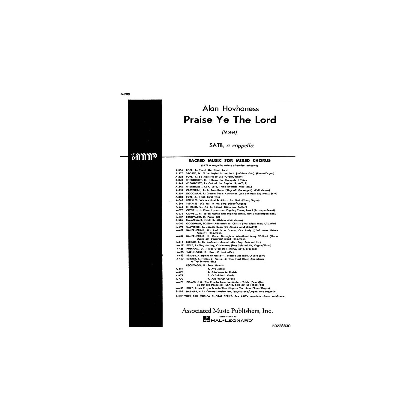 Associated Praise Ye The Lord  Motet A Cappella SATB composed by A Hovhaness thumbnail