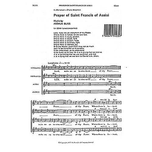 Novello Prayer of Saint Francis of Assisi SSAA Composed by Arthur Bliss thumbnail