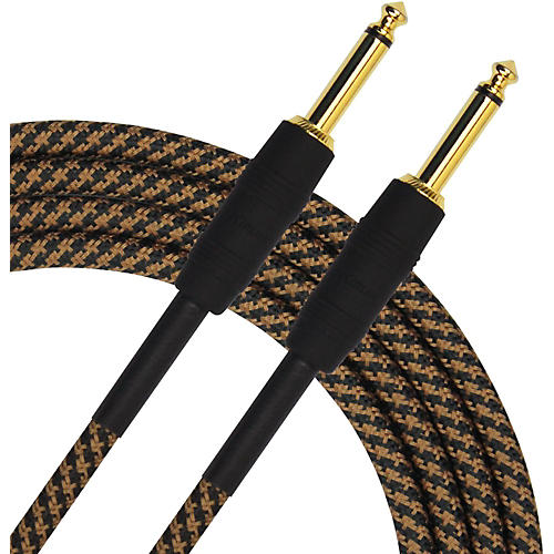 KIRLIN Premium Plus Instrument Cable, Brown/Black Woven Jacket thumbnail