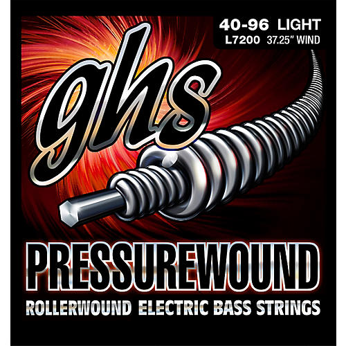 GHS Pressurewound Rollerwound Electric Bass Strings Light 40-96 thumbnail