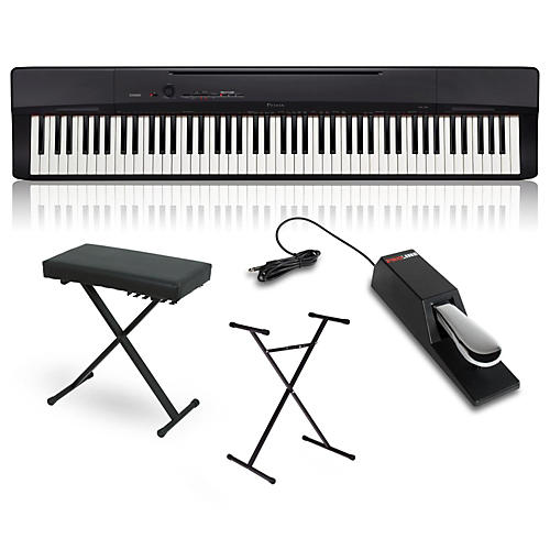 Casio Privia PX-160BK Digital Piano with Stand, Sustain Pedal and Deluxe Keyboard Bench thumbnail