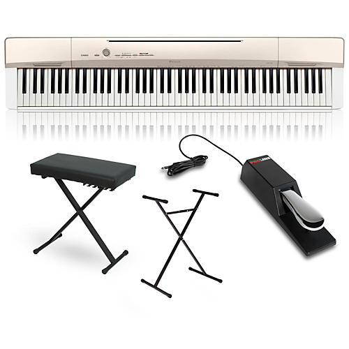 Casio Privia PX-160GD Digital Piano with Stand Sustain Pedal and Deluxe Keyboard Bench thumbnail