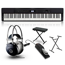 Casio Privia PX-350 Digital Piano Black with Stand, Sustain Pedal, Deluxe Keyboard Bench and Headphones