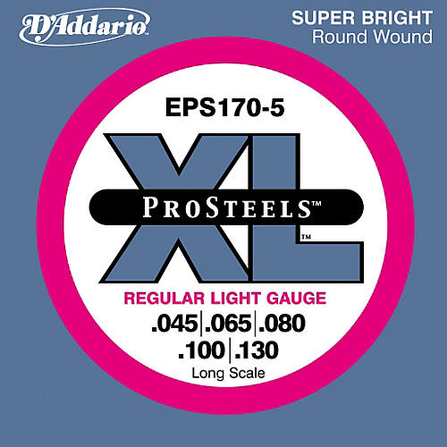 D'Addario ProSteels EPS170-5 Regular Light 5-String Bass Strings thumbnail