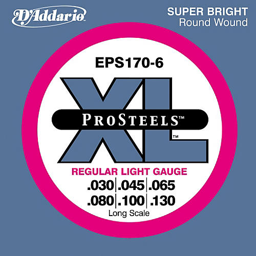 D'Addario ProSteels EPS170-6 Regular Light 6-String Bass Strings thumbnail