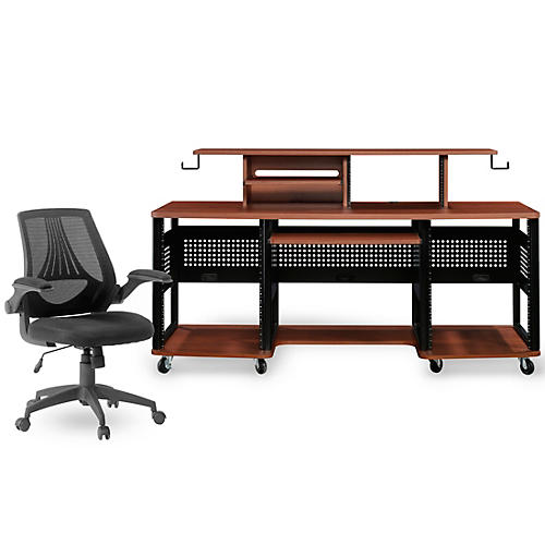 Studio RTA Producer Station Cherry and Mesh Managers Office Chair Bundle thumbnail