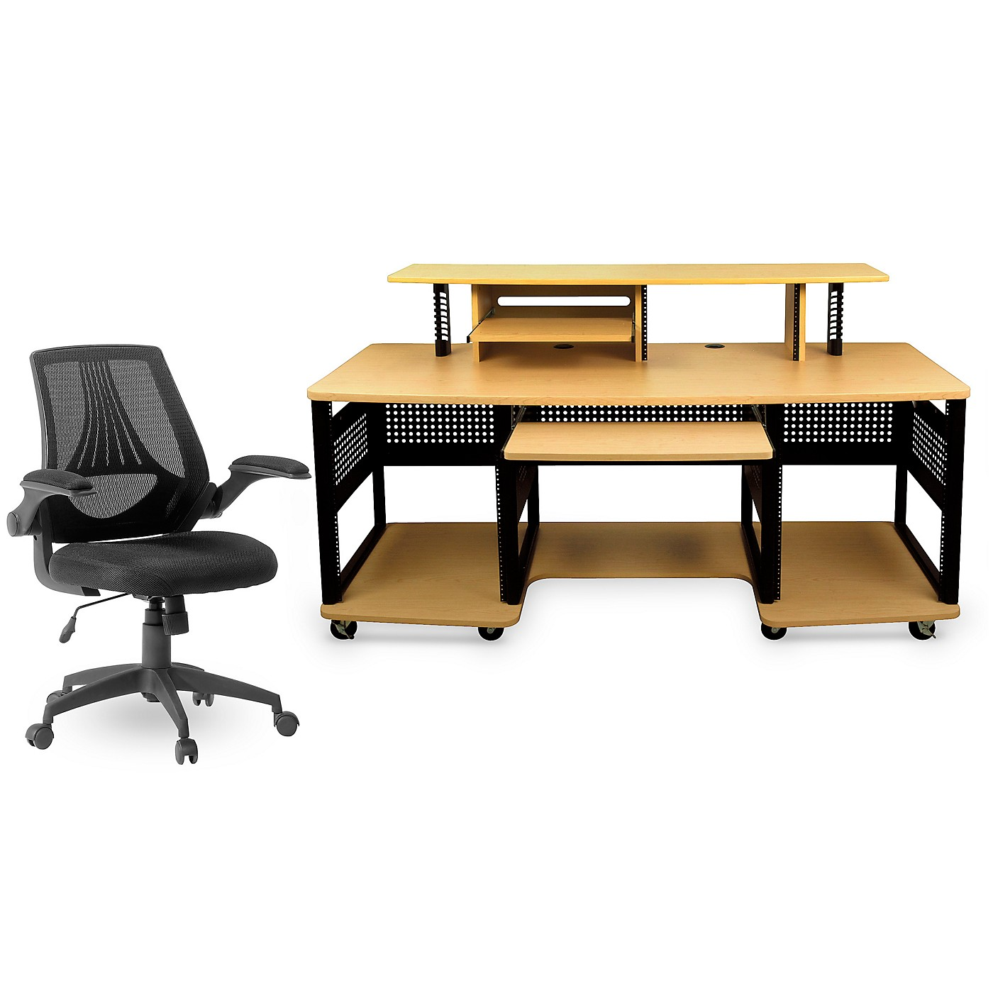 Studio RTA Producer Station Maple and Mesh Managers Office Chair Bundle thumbnail