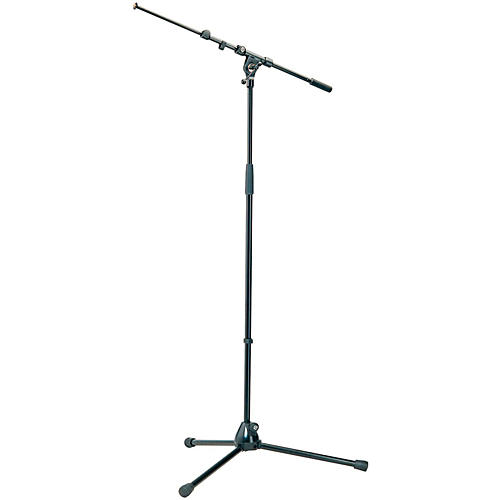 K&M Professional Top-Line Tripod Microphone Stand with Telescoping Boom Arm - Black thumbnail