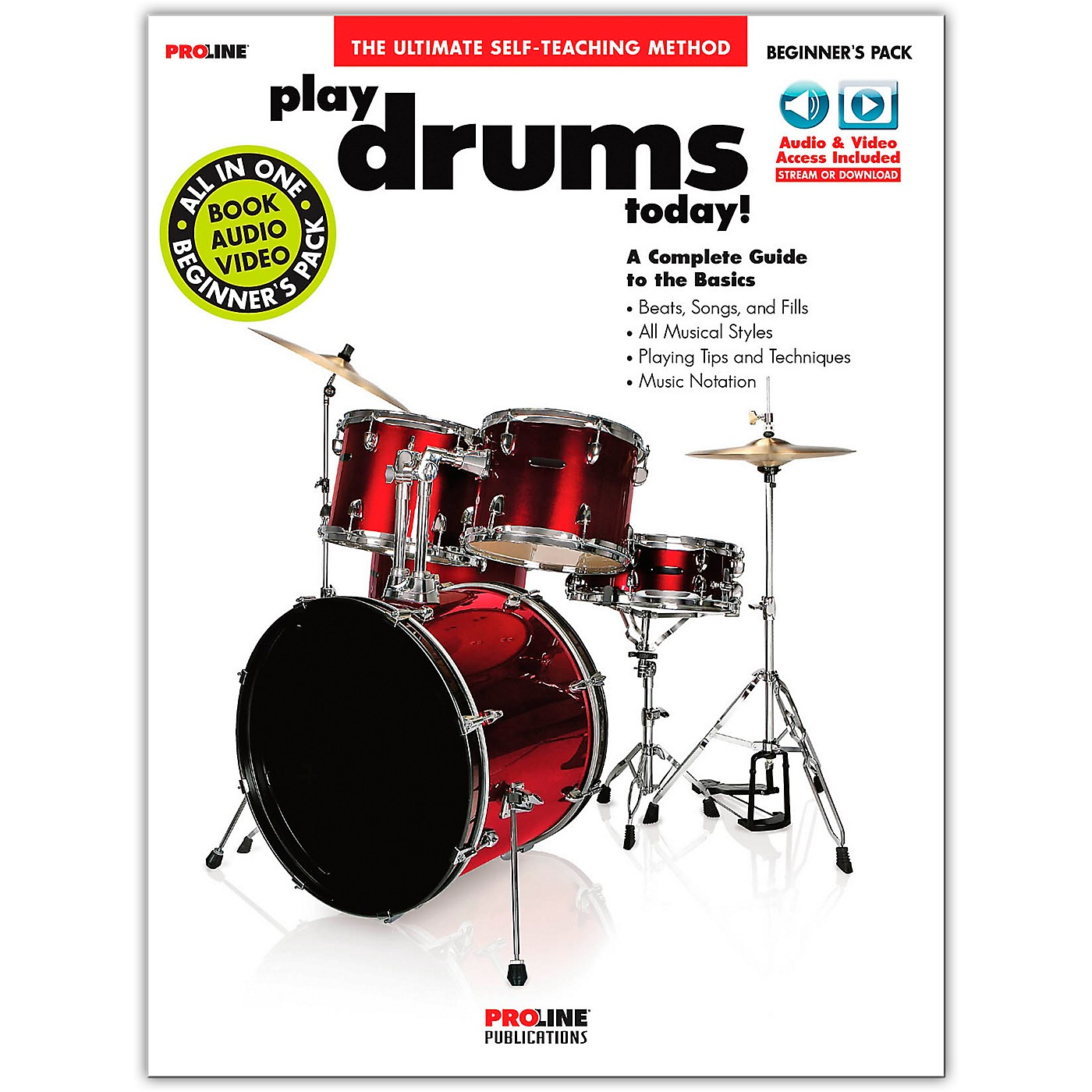 Proline Proline Play Drums Today Beginner's Pack Book/Audio & Video Online thumbnail
