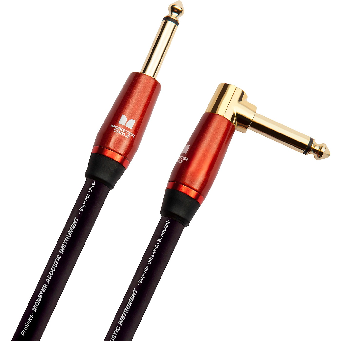 Monster Cable Prolink Acoustic Pro Audio Instrument Cable, Right Angle to Straight thumbnail