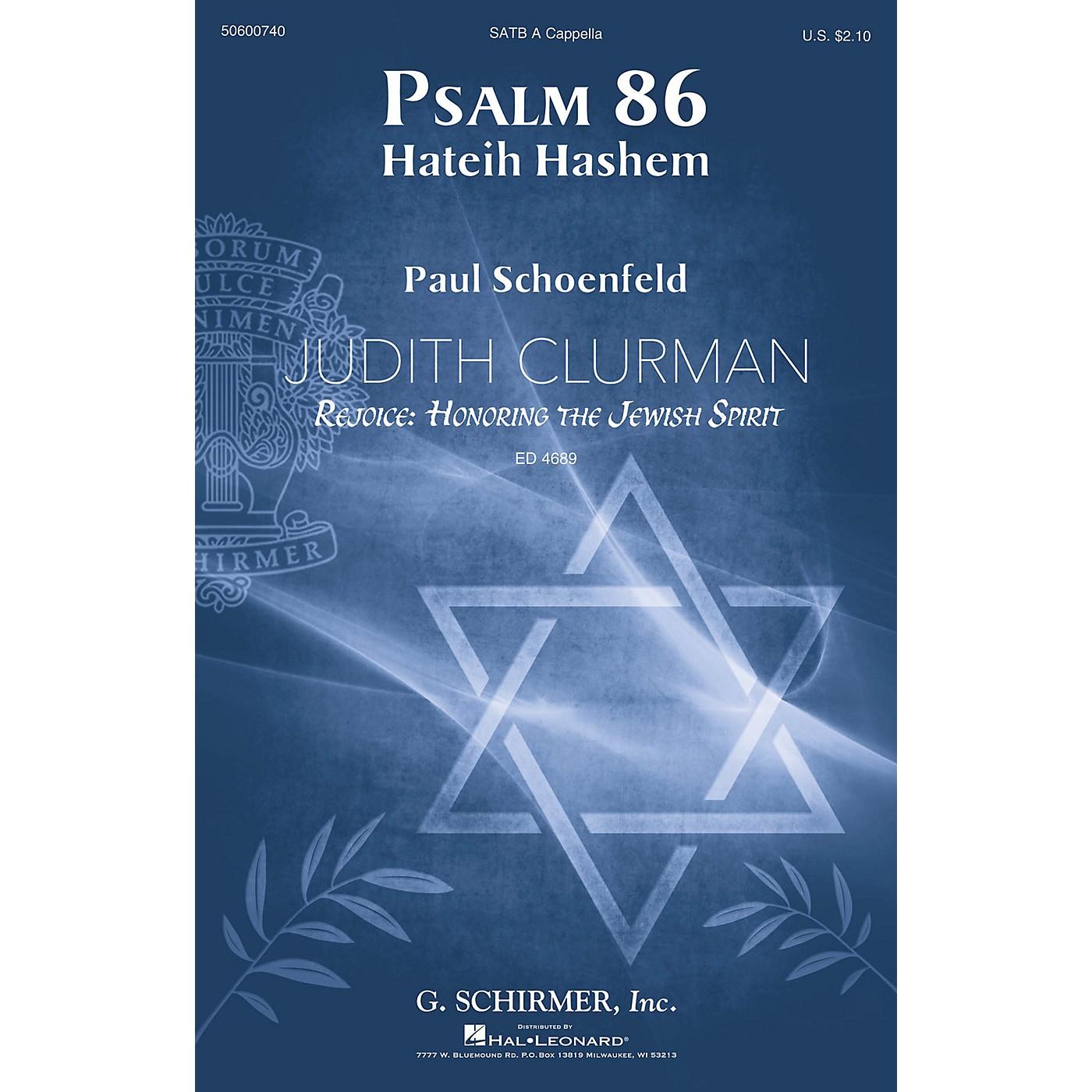 G. Schirmer Psalm 86 (Judith Clurman Rejoice: Honoring the Jewish Spirit Series) SATB A Cappella by Paul Schoenfeld thumbnail