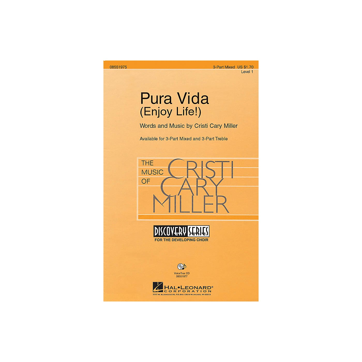 Hal Leonard Pura Vida (Enjoy Life!) 3-Part Mixed composed by Cristi Cary Miller thumbnail