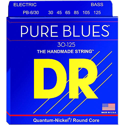 DR Strings Pure Blues Medium 6-String Bass Strings (30-125) thumbnail