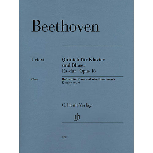 G. Henle Verlag Quintet for Piano and Wind Instruments in E-flat Maj, Op 16 Henle Music Folios Book by Beethoven thumbnail