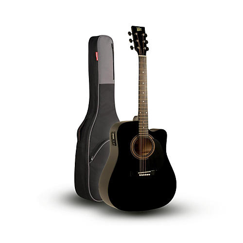 Rogue RA-090 Dreadnought Cutaway Acoustic-Electric Guitar, Black with Road Runner RR1AG Gig Bag thumbnail