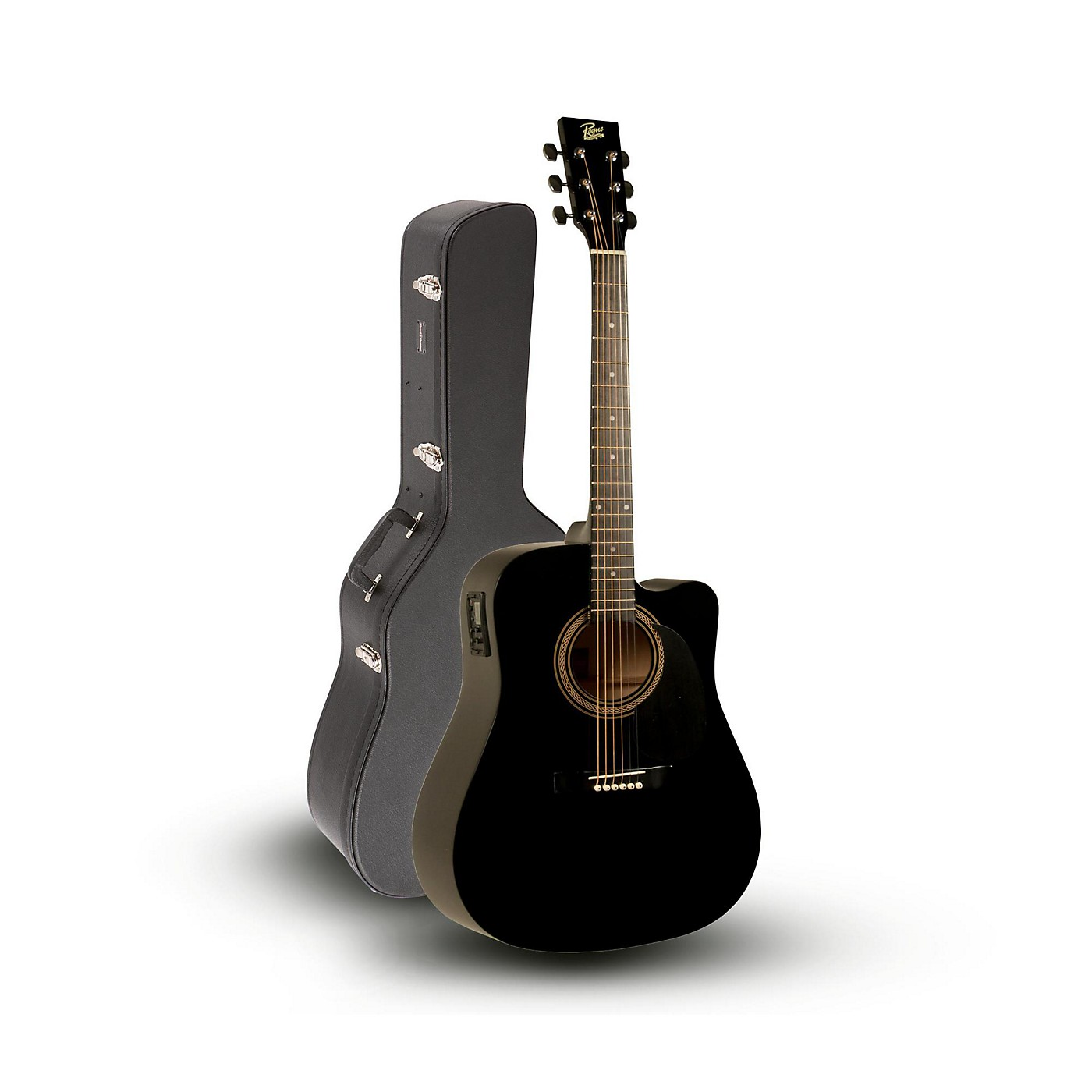 Rogue RA-090 Dreadnought Cutaway Acoustic-Electric Guitar, Black with Road Runner RRDWA Case thumbnail
