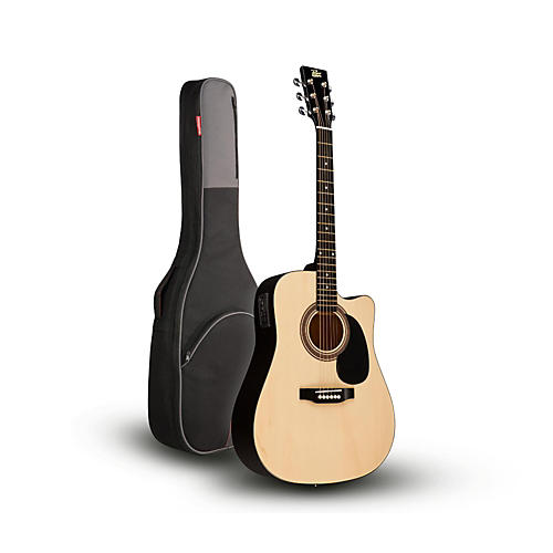 Rogue RA-090 Dreadnought Cutaway Acoustic-Electric Guitar, Natural with Road Runner RR1AG Gig Bag thumbnail