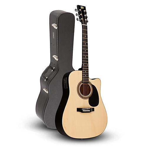 Rogue RA-090 Dreadnought Cutaway Acoustic-Electric Guitar, Natural with Road Runner RRDWA Case thumbnail