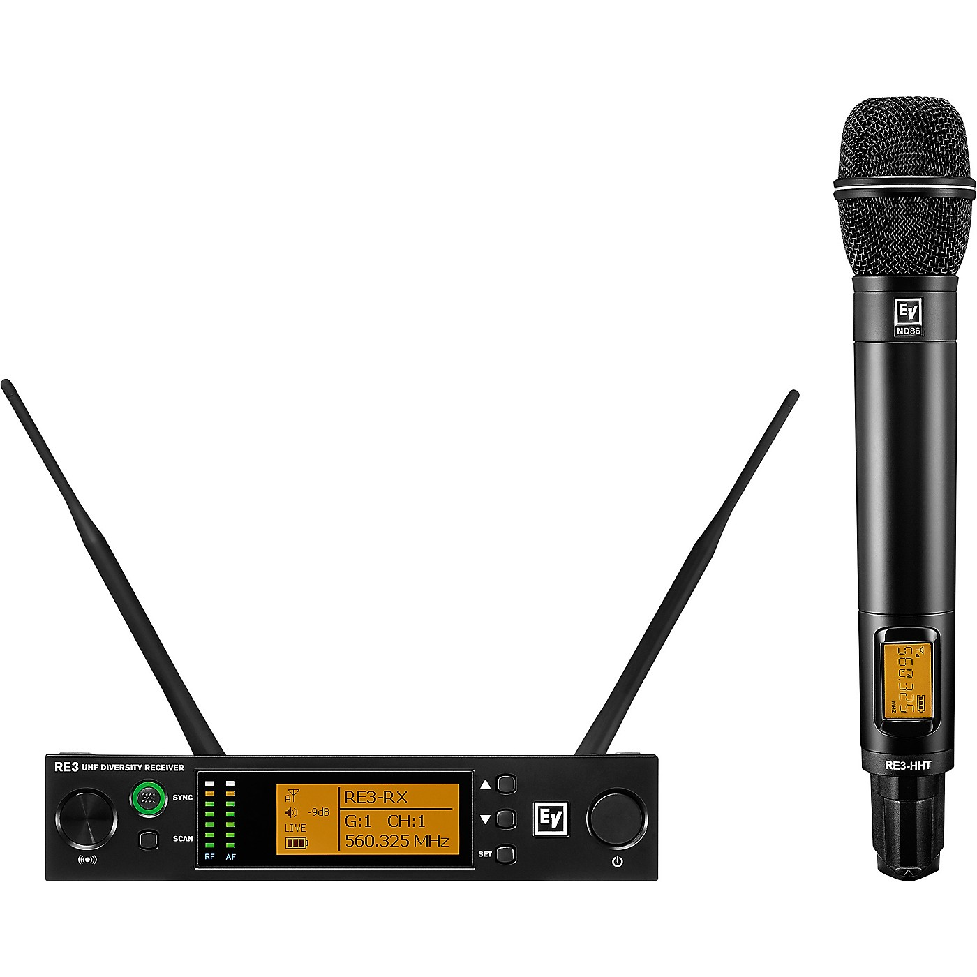 Electro-Voice RE3 Wireless Handheld Set with ND86 Dynamic Supercardioid Vocal Microphone Head 488-524MHz thumbnail