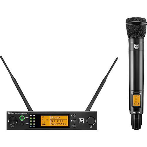 Electro-Voice RE3 Wireless Handheld Set with ND96 Dynamic Supercardioid Vocal Microphone Head 560-596MHz thumbnail
