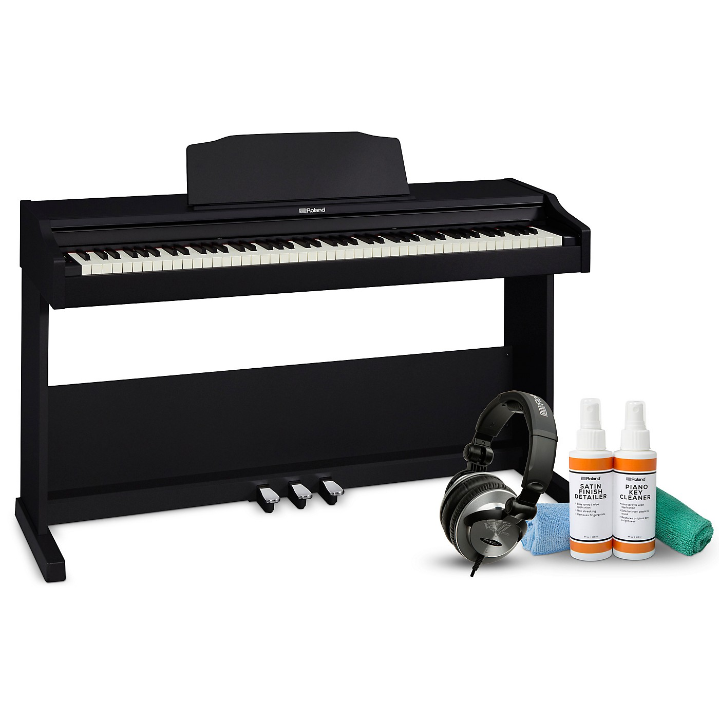 Roland RP-102 Digital Piano with RH-300V Headphones and Cleaning Kit thumbnail