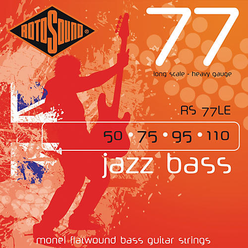 Rotosound RS77LE Heavy Gauge Jazz Bass Monel Flat Wound Strings thumbnail
