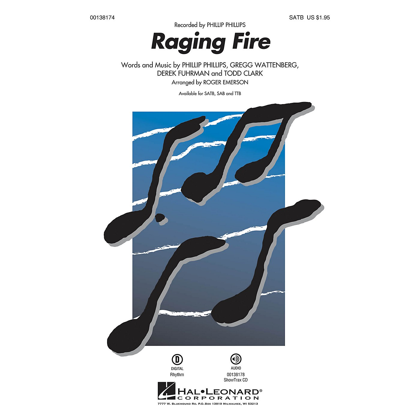 Hal Leonard Raging Fire TTB by Phillip Phillips Arranged by Roger Emerson thumbnail