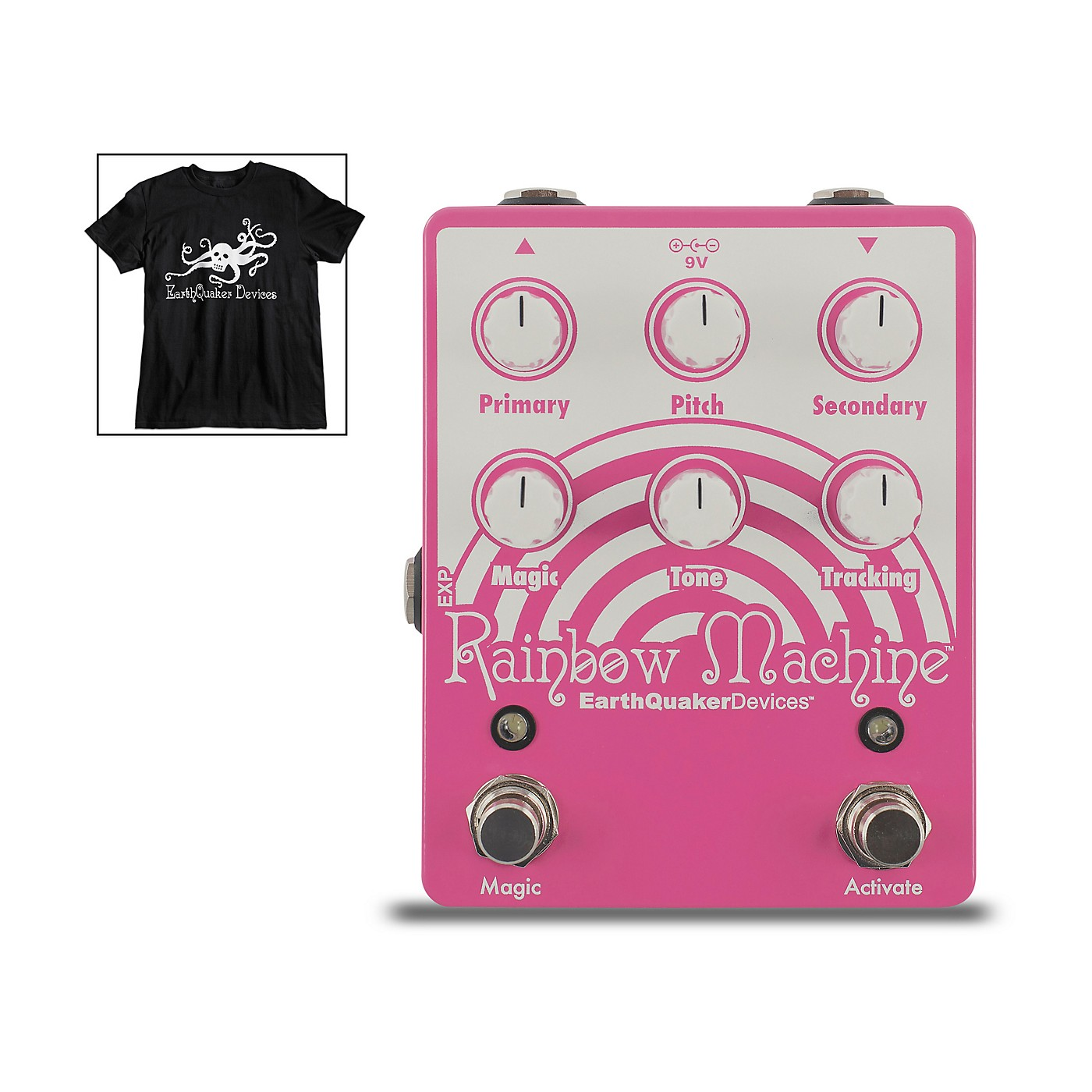 Earthquaker Devices Rainbow Machine V2 Polyphonic Pitch Shifter Effects Pedal and Octoskull T-Shirt Large Black thumbnail