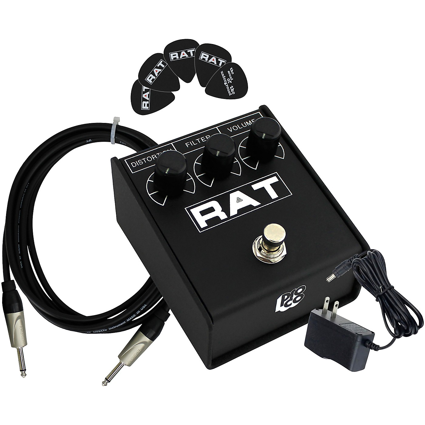 Pro Co Rat2 Distortion Effects Pedal Bundle with Cable, Power Supply, Picks thumbnail