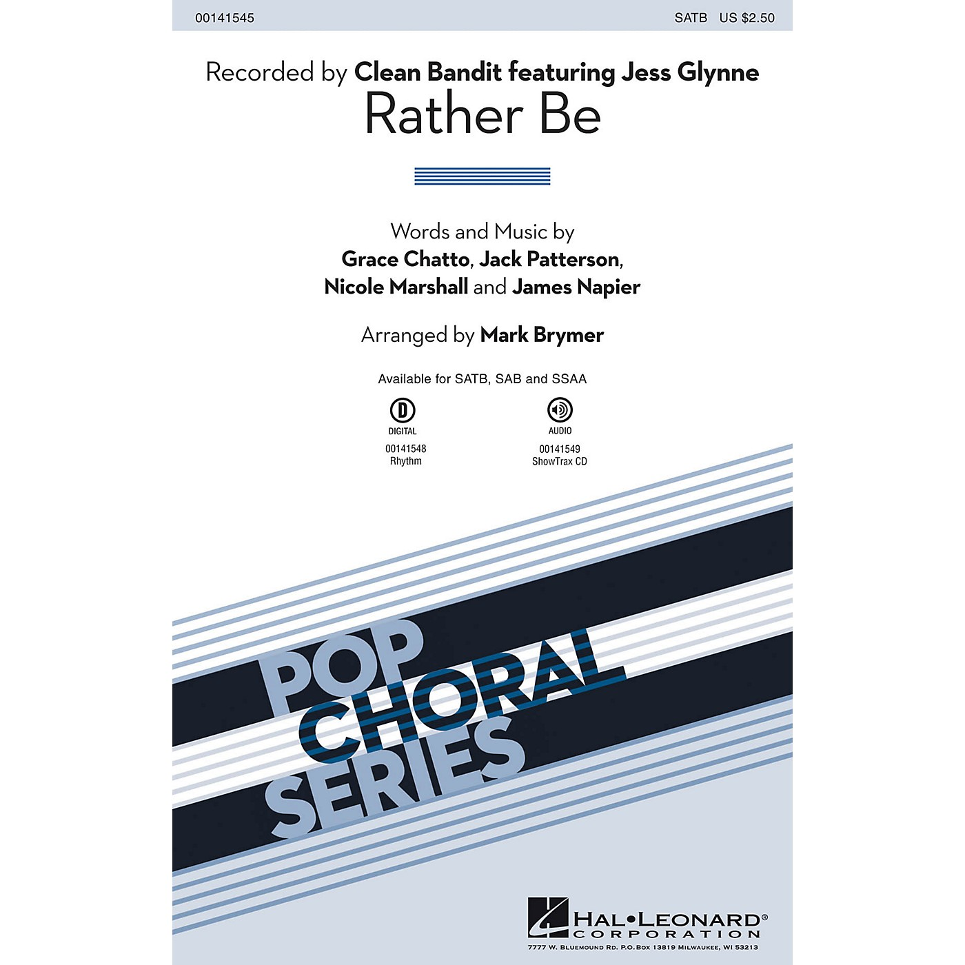 Hal Leonard Rather Be SATB by Clean Bandit arranged by Mark Brymer thumbnail